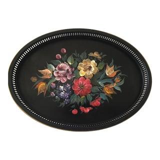 Vintage Oval Black Tole Tray, Nashco, Floral Center For Sale