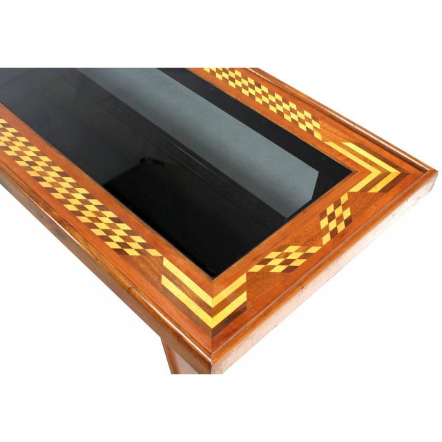 Mid-Century Modern Walnut Smoked Glass Top Marquetry Design Long Coffee Table For Sale - Image 3 of 9