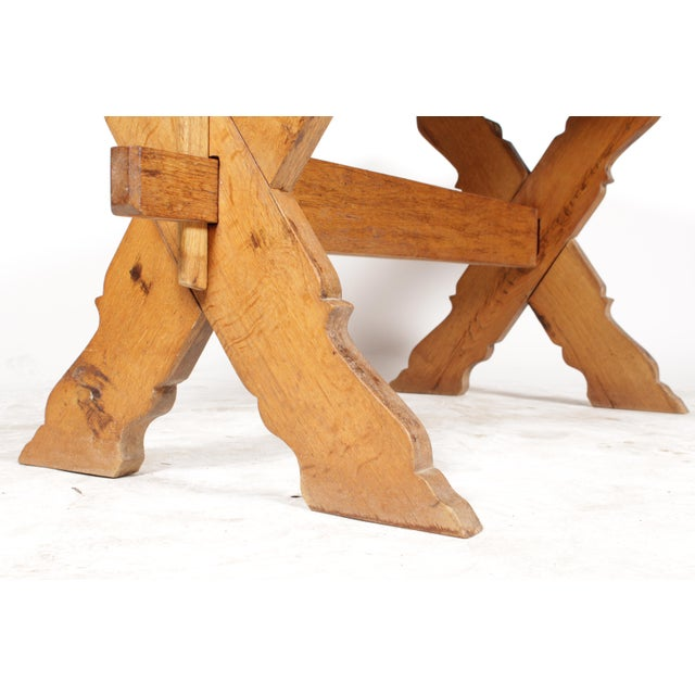 French Country-Style Trestle Table - Image 6 of 8