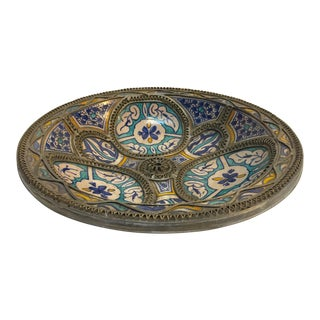Moroccan Ceramic Plate Adorned With Silver Filigree From Fez For Sale