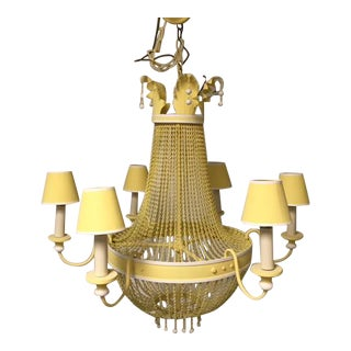 Vintage Canary Yellow Tower Chandelier For Sale