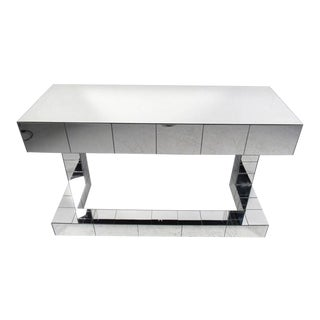 Paul Evans Style Contemporary Mirrored Writing Desk For Sale
