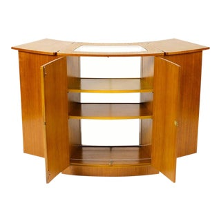 Danish Modern / Mid-Century Teak Expandable Rolling Bar / Cocktail Cabinet — Curved Profile For Sale
