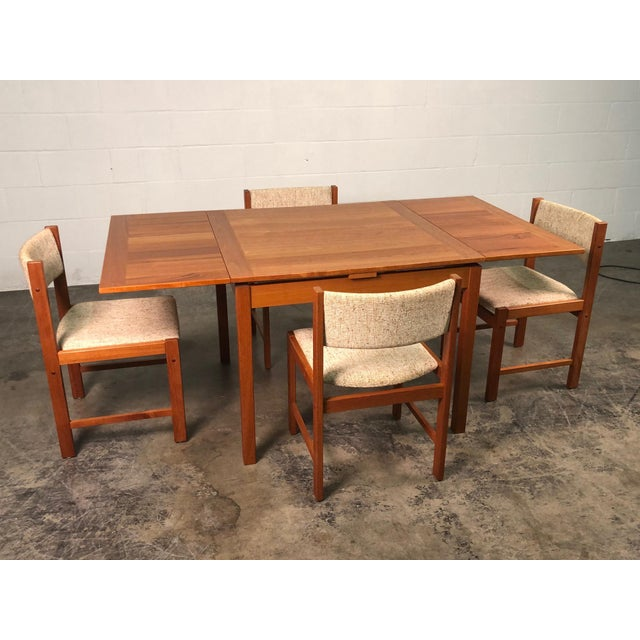 Beautiful Teak Mid-Century Style Expandable Dining Table With 4-Chairs For Sale - Image 11 of 11