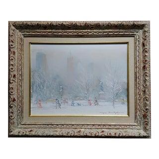 """Johann Berthelsen """"White Winter in Central Park"""" Oil Painting For Sale"""