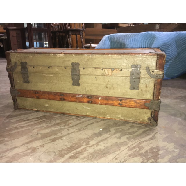 Brown Crouch & Fitzgerald Antique Flat Top Trunk For Sale - Image 8 of 11