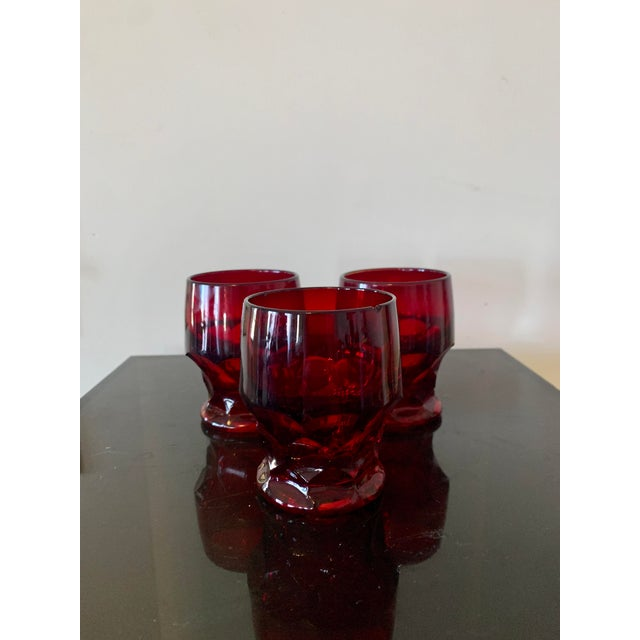 Vintage Viking Georgian Ruby Red Whiskey Glasses- Set of 7 For Sale - Image 4 of 8