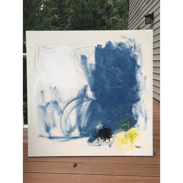 Acrylic, Pastel, and Graphite on thick, gallery wrapped, canvas. Edges painted creamy white (same color as the...