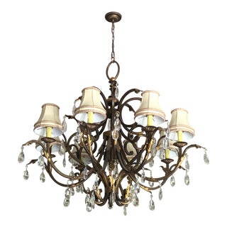 Traditional Dark Bronze Chandelier With Lampshades and Crystal