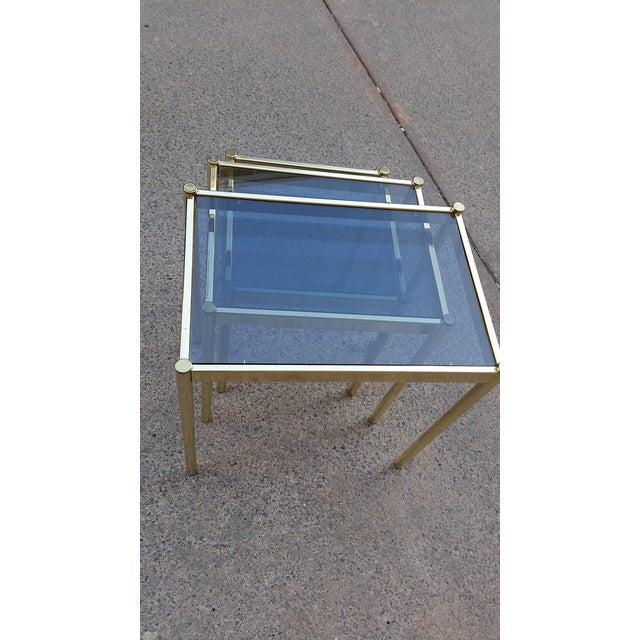Hollywood Regency Brass & Smoke Glass Nesting Tables - Set of 3 - Image 7 of 9