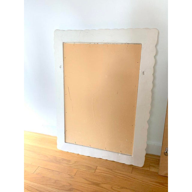 1960s Vintage White Trompe l'Oiel Plaster Framed Mirror For Sale - Image 9 of 9