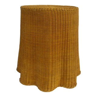 """Vintage Boho Chic Bamboo Rattan Draped Tromp l'Oeil """"Ghost"""" Side/Accent Table Manner of Michael Taylor For Sale"""