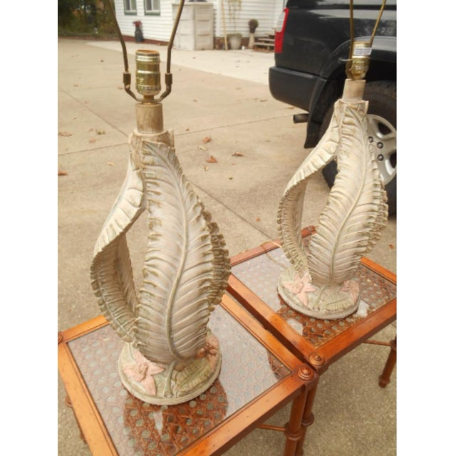 Mid-Century Modern Reed Style Palm Beach Tree Leaf Lamp - a Pair For Sale - Image 3 of 6