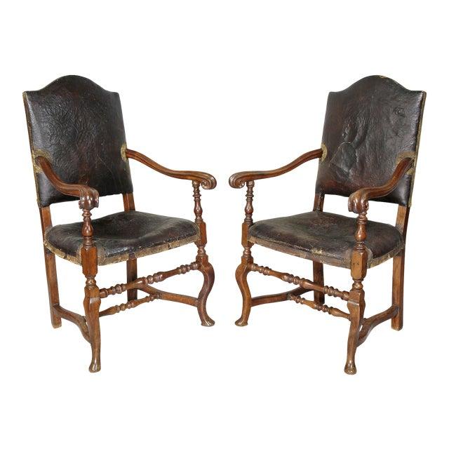 Italian Baroque Walnut Armchairs - a Pair For Sale