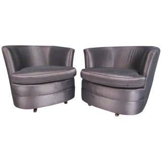 Pair of Mid-Century Modern Barrel Back Swivel Club Chairs For Sale