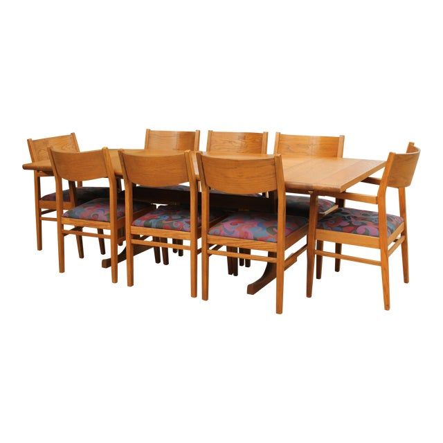 Conant Ball Oak Dining Table and 8 Chairs For Sale