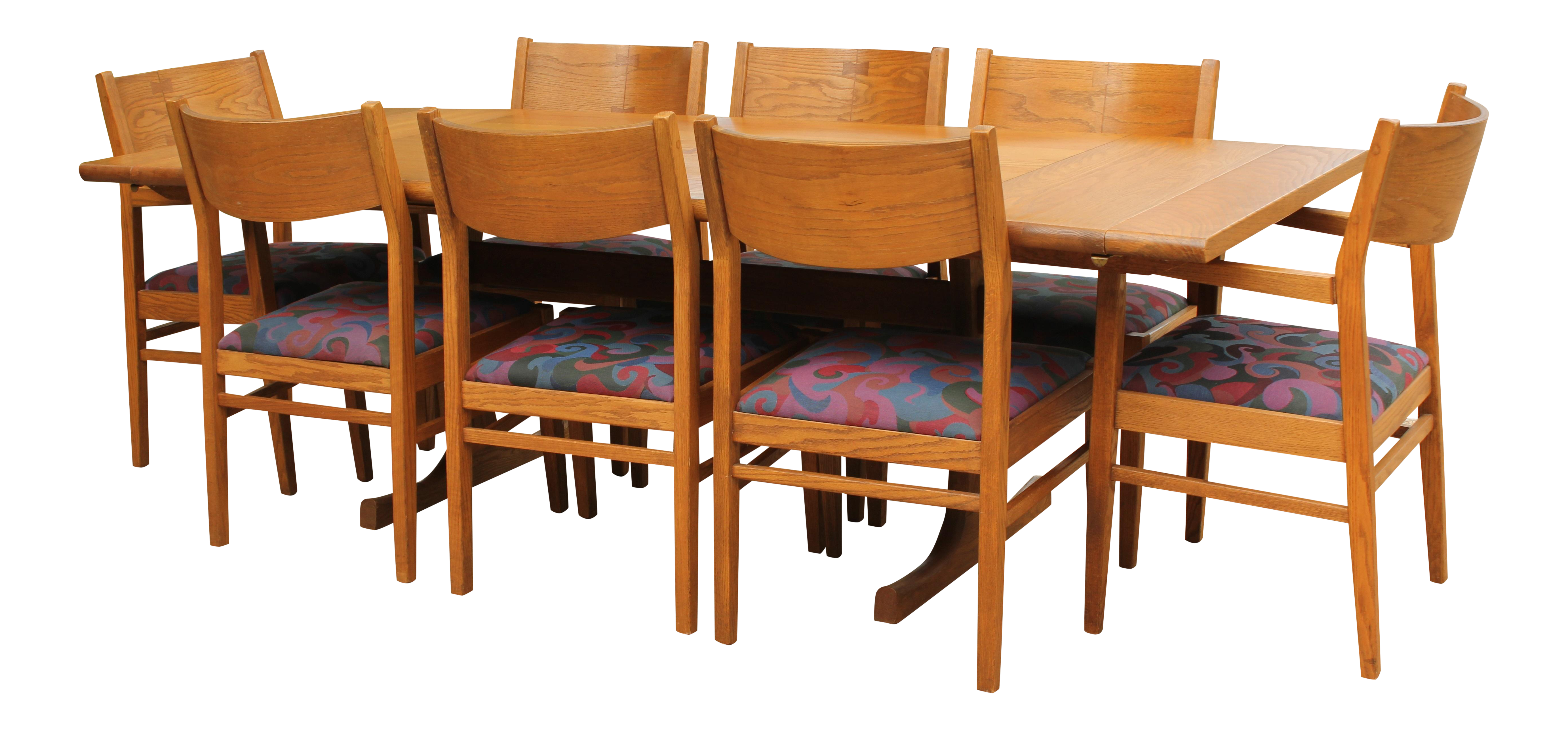 conant ball oak dining table and 8 chairs conant ball oak dining table and 8 chairs   chairish  rh   chairish com