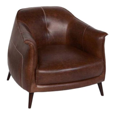 Classic Brown Leather Club Chair from Kenneth Ludwig Home For Sale