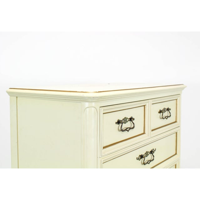 French Provincial Vintage Provincial Cream Highboy Chest of Drawers For Sale - Image 3 of 10