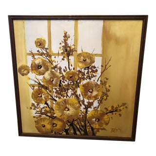 1960s Mid-Century Style Floral Still Life Painting, Framed For Sale