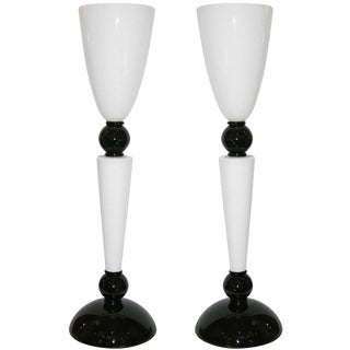Alberto Dona Monumental Art Deco Black and White Murano Glass Table/Floor Lamps - a Pair For Sale