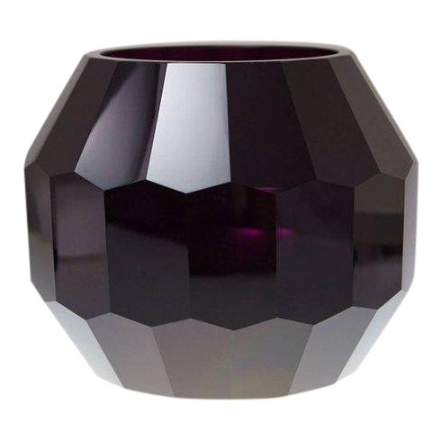 Dark Violet Hand Cut Crystal Vase Attributed to Josef Hoffmann for Moser & Söhne For Sale