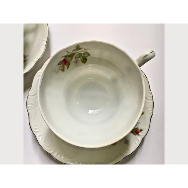 Ceramic Footed Moss Rose Bone China Tea Cups - Service for 2 For Sale - Image 7 of 12