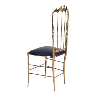 Mid Century Modern Chiavari Italian Brass Chair For Sale