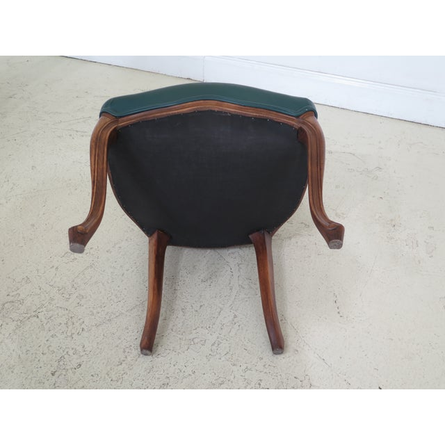 1990s Vintage Green Leather French Style Dining Room Chairs- Set of 6 For Sale - Image 10 of 11