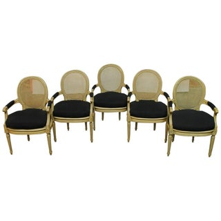 Louis XVI Style Cane Fauteuil Armchairs - Set of 5