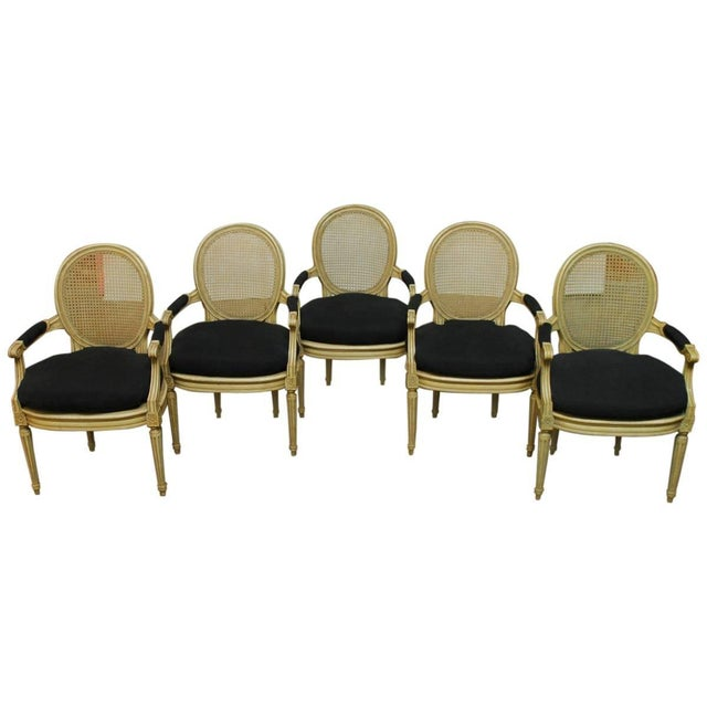 Louis XVI Style Cane Fauteuil Armchairs - Set of 5 For Sale