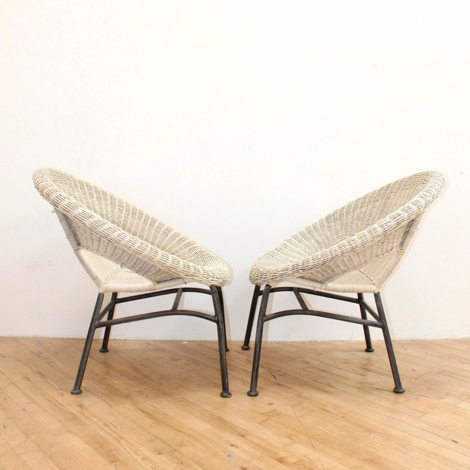 Mid Century Modern Wicker And Iron Stacking Saucer Chairs   A Pair   Image  2 Of