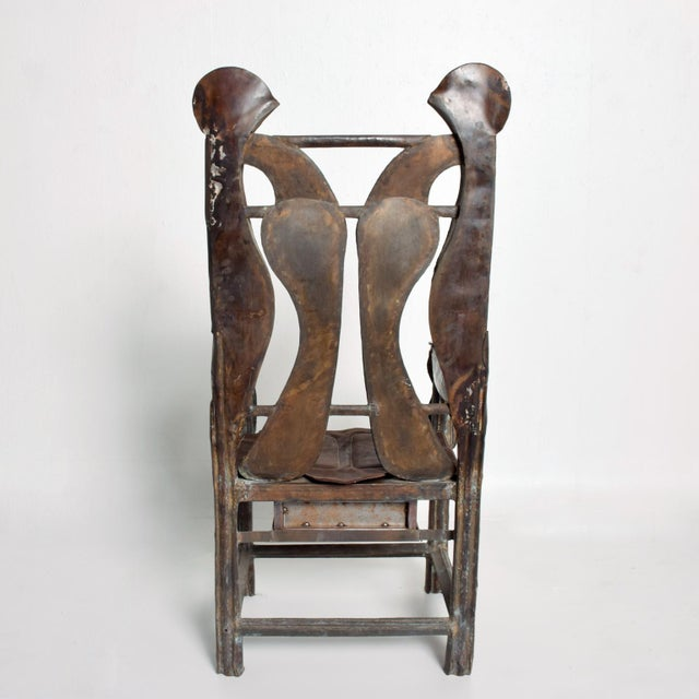 Paul Evans Brutalist Sculptural Bronze Arm Chair Signed Zavala, Game of Thrones Era For Sale - Image 4 of 11