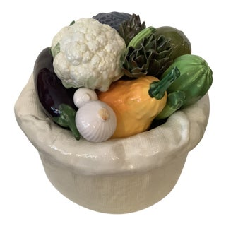 Vintage Italian Bertinazzo Ceramic Bowl of Vegetables For Sale