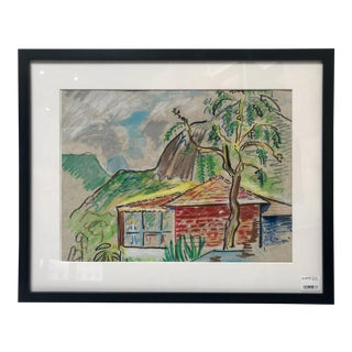 1980s Tahitian Dream Framed Drawing For Sale