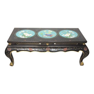 1940's Black Lacquer & Blue Cloisonné Chinese Coffee Table For Sale