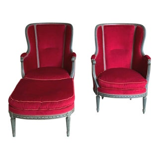 French Louis XVI Style With Painted Finish & Mohair Wingback Armchairs & Ottoman - Set of 3 For Sale