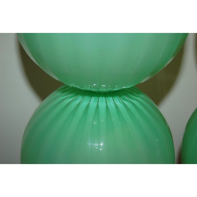 Green Joe Cariati Hand Blown Glass Ball Table Lamps Green For Sale - Image 8 of 10