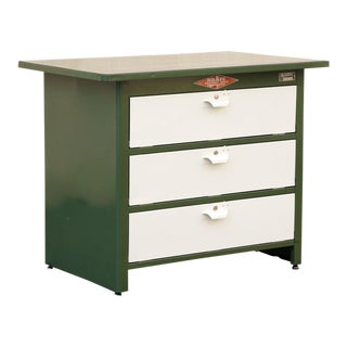 1960s Tool Cabinet by Nuarc Graphic Arts Equipment, Refinished in Army Green and Pearl For Sale