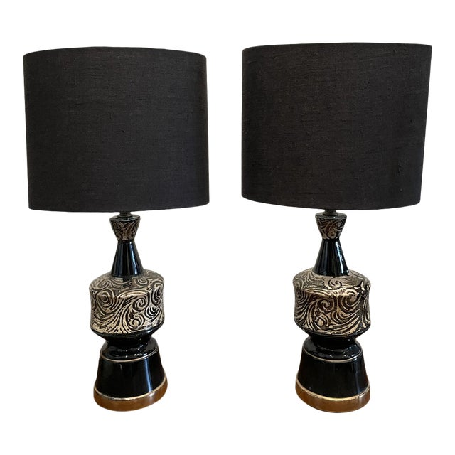 Mid-Century Modern Glossy Black and Silver Ceramic Table Lamp Pair For Sale