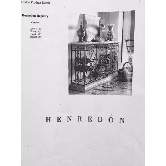 Henredon Registry Collection Terra Cotta & Wrought Iron Console For Sale - Image 11 of 12