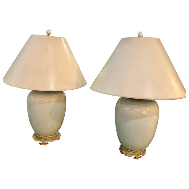 Hollywood Regency Style Porcelain Ginger Jar Lamps - a Pair For Sale