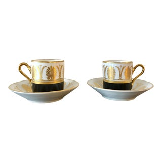 Mid-Century Richard Ginori Demitasse Cups & Saucers - Service for 2 For Sale