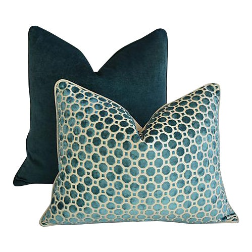 Custom Tailored Marine Green/Turquoise Velvet Feather/Down Pillows - Set of 2 For Sale