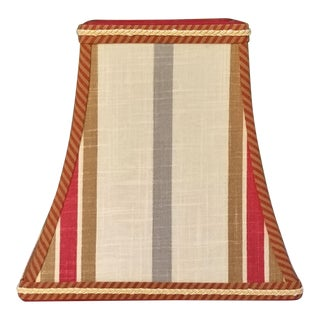 Striped Red Brown Blue Gray Square Bell Clip on Lamp Shade For Sale