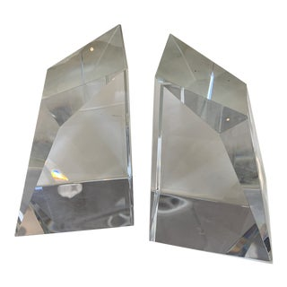 Crystal Glass Prism Bookends - a Pair For Sale