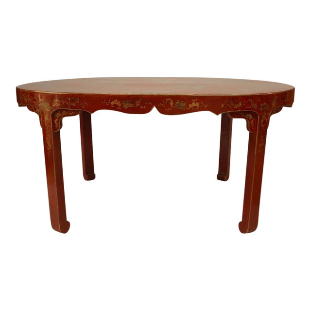 Asian Chinese Oval Red Lacquer and Gilt Stencilled Center Table For Sale