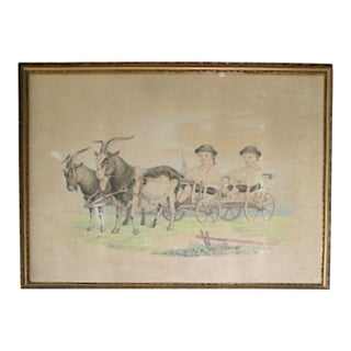 19thC. Drawing Handtinted Portrait Boys in Goat Cart For Sale