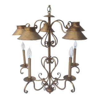 Adjustable Vintage Five Great Light Italian Gilt Tole Chandelier For Sale
