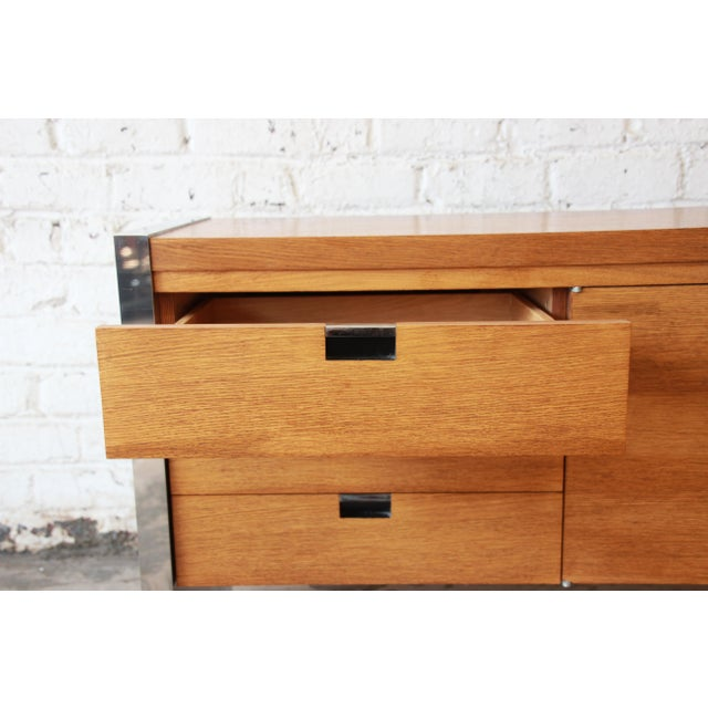 Roger Sprunger for Dunbar Mahogany and Chrome Executive Credenza For Sale - Image 10 of 11